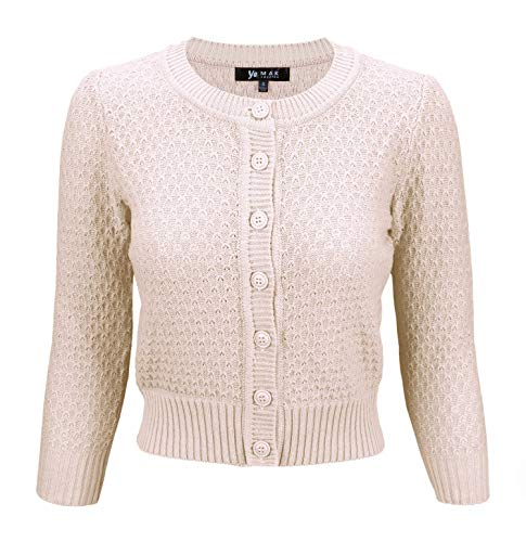 YEMAK Women's 3/4 Sleeve Crewneck Cropped Button Down Knit Cardigan Sweater MK3514-BLS-3X