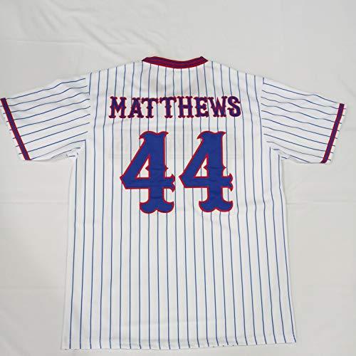 P-J Men's Gus Matthews #44 Benchwarmers Pinstriped Baseball Jersey Stitched Size XL