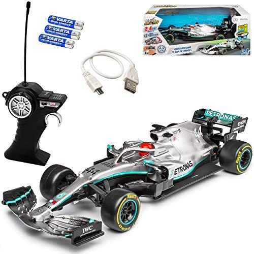 Mercedes-Benz AMG W10 EQ Power Weltmeister Lewis Hamilton Nr 44 Formel 1 2019 2.4 GHz RC Funkauto - inklusive Akku Batterien - sofort startklar 1/24 Maisto Modell Auto