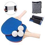 YZU Juego de Tenis de Mesa con 3 Pelotas de Ping Pong, 1 par de paletas de Tenis de Mesa, Bolsa de Transporte de Malla portátil, para Juegos de Ping Pong al Aire Libre en Interiores