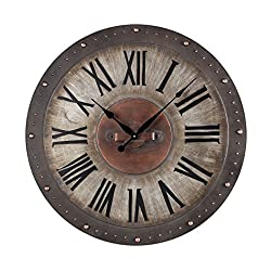 AR Lighting Metal Roman Numeral Outdoor Wall Clock.