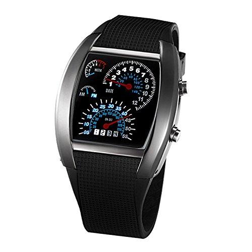 SODIAL(R) Orologio da Polso LED Blu per Uomo Auto da Corsa