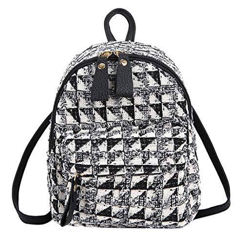 YIHANK Ladies Bag Fashion Women's Outdoor Simple Zipper Contrast Color Wool Backpack Travel Bag Black