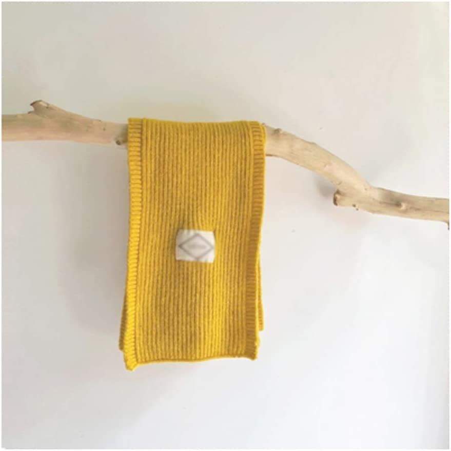 Agal Children Scarf Kids Thicken Wool Knit Scarf Fashion Solid Color Neck Warmer Winter Warm Wrap Scarves for Most Kids Warm Scarf (Color : Yellow)