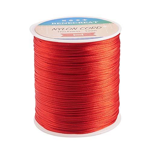 BENECREAT 200m 1mm Cordón de Seda para Collar Pulsera Cuerda de Seda de Cuentas Cuerda de Reborde para Joyería Rojo