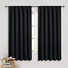 PONY DANCE Black Out Window Curtains - Thermal Insulated Curtains and Drapes Window Treatments Light Block Short Blinds Rod Pocket for Bedroom, W 52 x L 63 inches, Black, 1 Pair