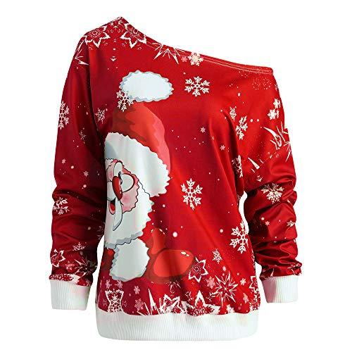 OverDose Damen Weihnachtsfrauen-Schneeflocke-Druck-Longsleeve-Oberseiten-Sweatshirt-Pullover-Blusen-Hemd Party im Freien Clubbing-Karneval Outwear Hoodie(Rot,38 DE/S CN)