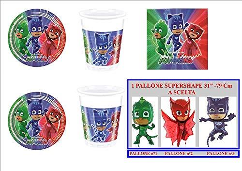 PJ Masks Super pigiamini coordonné décorations fête – Kit N ° 42 CDC- (40 assiettes, verres, 40 serviettes, 1 ballon Supershape)