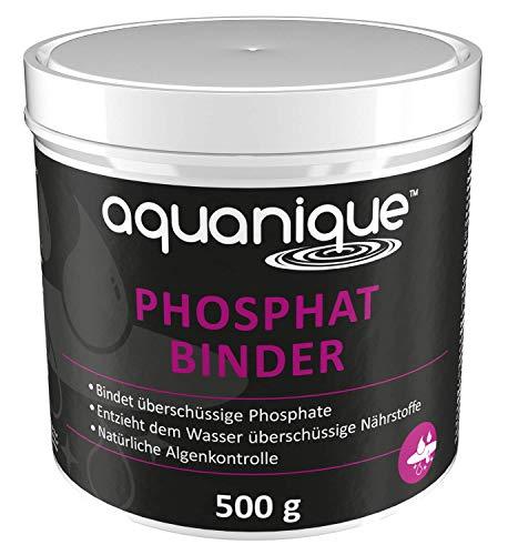Aquanique aglutinador de fosfatos 500 g, para estanques, suficiente para hasta 10.000 l, ayuda a prevenir las algas, contra el crecimiento de algas, inofensivo para los animales y las plantas