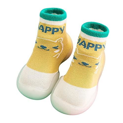 Calcetines Bebé Calcetines Bebé Calcetines Antideslizantes Zapatos Bebé Calcetines Zapatos Bebé Niños Niñas Dibujos Animados Pequeños Calcetines Antideslizantes Zapatos Bebé, amarillo, 24