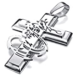 MENDINO Mens Stainless Steel Gothic Dragon Cross Pendant Necklace with 22 inch Chain