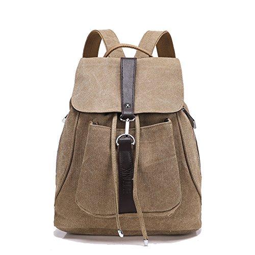 Minetom Lona Backpack Mochilas Escolares Mochila Escolar Casual Bolsa Viaje Moda Estilo De La Señora Mujer Caqui One Size(32 * 15 * 38 Cm)