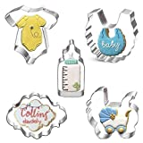 Orapink 5 Pieces Baby shower Cookie Cutters Stainless Steel Cookie Cutter Shapes for Kids - Onesie, Bib,Baby Carriage, Feeding Bottle, Brand