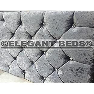 MARKET STYLE Headboard in Crushed Velvet WITH DIAMONDS Great Quality Cheapest by Elegant Beds (3FT Single, Slate Grey)