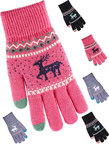 Tatuo 3 Pairs Texting Gloves Touchscreen Gloves Stretch Knitted Mechanic Gloves Winter Warm Gloves (Red, Black and Grey)