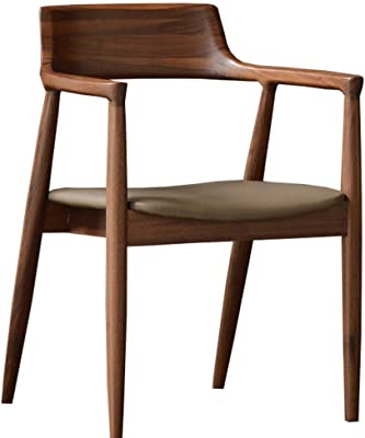 LJFYXZ Dining Chairs Synthetic Leather and backrest Design Retro Lounge Chairs Upholstered seat Solid Wood with armrests Home Desk Chair 57x56x81cm (Color : Brown)