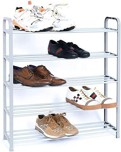 A-Generic Organizador de Almacenamiento de Soporte de Zapatos, Robusto y fácil de Montar. Soluciones de Almacenamiento de Zapatos para Cualquier hogar o áreas comunales en Negro o Plateado.-Plata