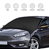 Windshield Snow Cover, Car Snow Cover with Hooks, Back Mirror Covers, Storage Bag, Windshield Cover for Ice Snow Thicker Windproof Folding Design and for Car/Truck/SUV/Universal Large Size 90