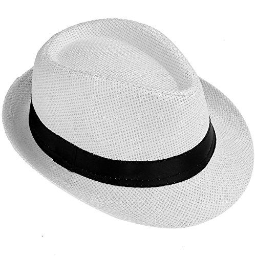 FALETO Kinder Jungen Mädchen Panamahut Sonnenhut Sommerhut Beach Hut Strohhut Jazz Hut (Weiß)