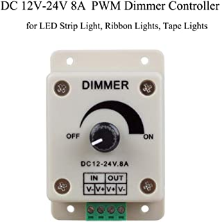 PWM Dimmer Controller DC 12V - 24V 8A Dimmer Knob ON/OFF Switch, Single Channel Adjustable Brightness Light Switch