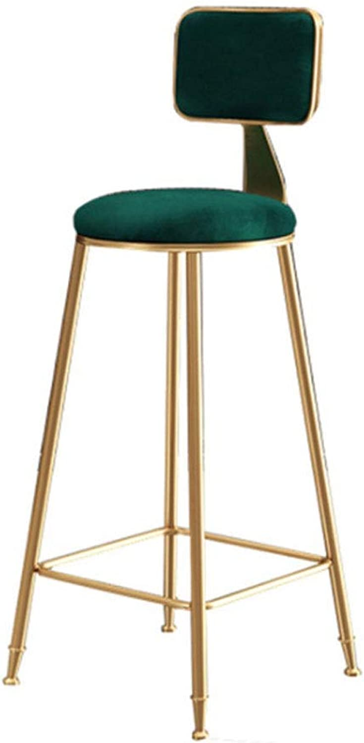 Bar stools Bar Stool High-Back Modern Metal Frame with Footrest Fabric Light Grey Height Chair (color   D)