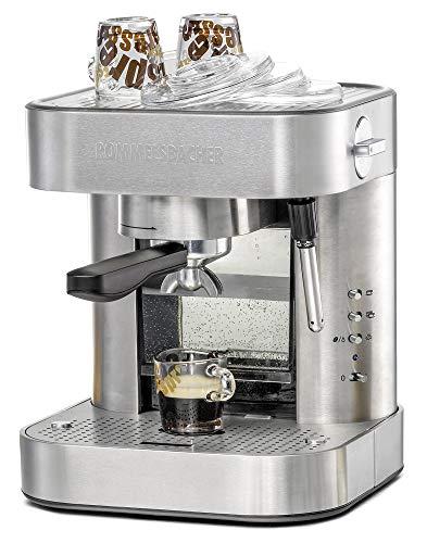 ROMMELSBACHER Espresso Maschine EKS 2010 - Siebträger, Filtereinsatz für 1 bzw. 2 Tassen, Vorbrühfunktion, 19 Bar Pumpendruck, Düse für Milchschaum/Heißwasser, programmierbare Tassenfüllmenge