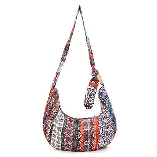 SimpleLife Frauen Mädchen Vintage Ethnic Style Umhängetaschen Crossbody Canvas Boho Hippie Tote Messenger Bags