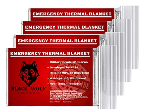 Black Wolf Emergency Mylar Thermal Blankets (5 Pack) Perfect for Outdoors, Hiking, Survival, Bug Out Bag, Marathons or First Aid (Silver)