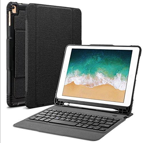 OMOTON abnehmbare Bluetooth Tastatur Hülle, deutsches Layout QWERTZ Wireless Keyboard Case Cover für das 9.7 Zoll iPad Air, Air 2, iPad Pro 9.7 Zoll, iPad 2017 und 2018 [9.7 Zoll],schwarz
