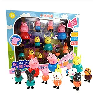 Peppa Pig Cartoon Friends Toys for Kids Gift,12 pieces