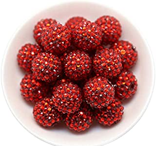 20mm Rhinestones 25 Count Chunky Bubble Gum Acrylic Beads Bulk Wholesale Pack (Red)