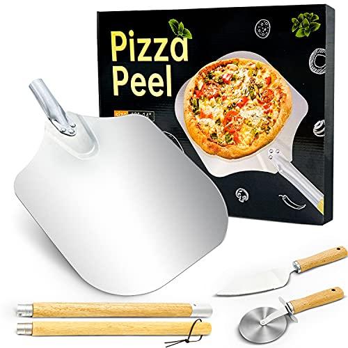Pala per Pizza Professionale in Alluminio + Rotella Pizza + Pala Pizza Set, con Gancio da Appendere, Manico in Legno Staccabile, 30,5 x 35,5 cm, per Taglierina per Pizza Torte,Biscotti