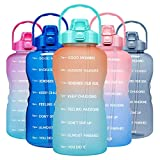 Venture Pal 1 Gallon Large Motivational Sports Water Bottle with Time Marker & Straw, Leakproof BPA Free Reusable Fitness Water Jug for Gym,Work and Outdoor Sports-Ombre Orange Green
