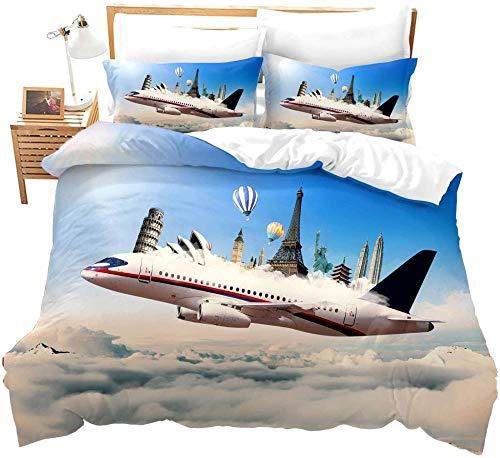 Rvvaceo Sky Airplane Building Heißluftballon-Landschaft, Bettbezug-Set, 3D-Druck, Bettbezug-Set für Kinder, Jungen, weiche Mikrofaser mit 2 Kissenbezügen (50 x 75 cm), Einzelbettgröße 135 x 200