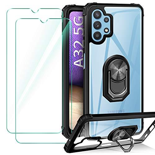 ivencase Funda Compatible con Samsung Galaxy A32 5G [Not Fit for 4G], 2 Pack Cristal Templado, Transparente Airbag Anti-Choque Protector Carcasa con 360 Grados Imán Soporte Silicona Bumper Case Negro