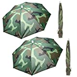 ZffXH 4 sombreros de paraguas plegables para la lluvia, para pesca, manos libres, playa, al aire libre, tamaño grande, camuflaje