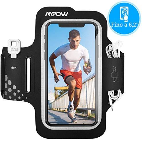 Mpow Fascia da Braccio Portacellulare per Corsa Correre, 【Fino a 6,2''】 Sweatproof Porta Cellulare Braccio per iPhone 11 Pro/11/XR/XS/X/8/7, Galaxy S9/S8/S7, con Supporto Chiave e Tasca per Carte