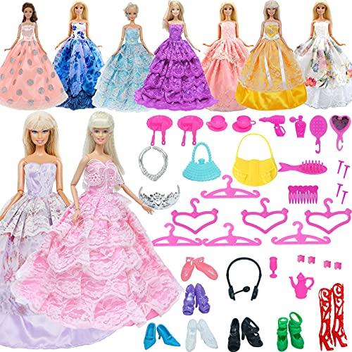 XKMY Vestidos para muñeca al azar 37 piezas accesorios de muñeca para Barbie Doll House Play 2 x ropa larga + zapatos + perchas + bolsos + collar (color: sin muñeca)