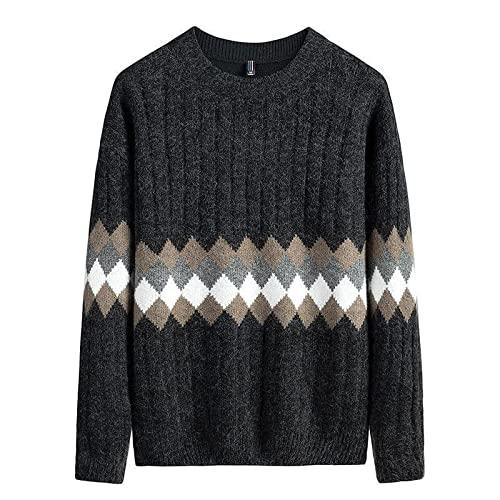 Jersey para Hombre, suéter Suelto, Informal, de Moda, Bordado, Bloque de Color, Manga Larga, Cuello Redondo, Empalme de Talla Grande XXL