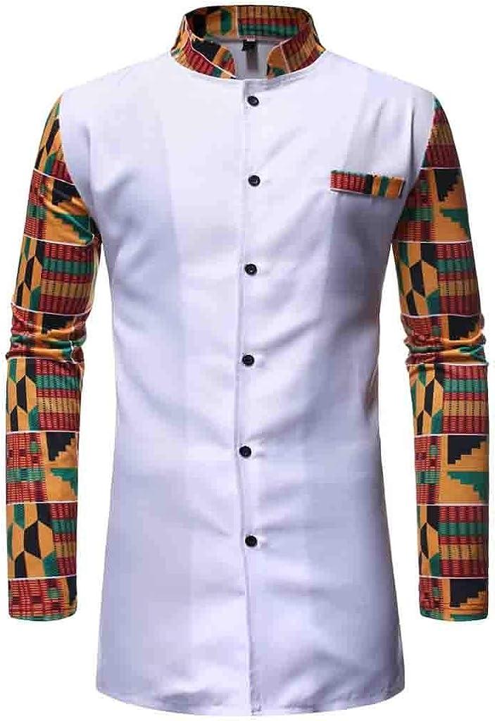 MODOQO Long Sleeve African Shirt for Men,Tribal Printed Slim Fit Medium Length Shirt Set