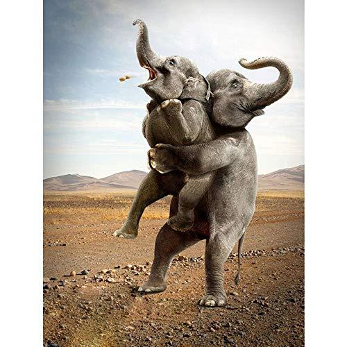 PYuKK 5D DIY「Sumo-Elefant」Diamant Malerei Set,Kristall Kreuzstich Diamant Stickerei Strass,Diamant Mosaik Malerei Kunst Wanddekoration -50x60cm