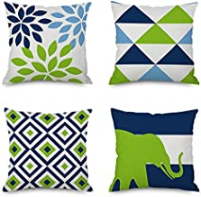 Hishexin Modern Linen Decorative Square Throw Pillow Covers, Blue and Green Pillow Cases Outdoor Cushion Cover 18 x 18 Set of 4