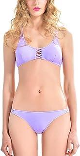 JOYS CLOTHING 女性のローウエスト2ピーストライアングルビキニセットは、パッド入りビーチ入浴剤をプッシュアップ (Color : Purple, サイズ : L)