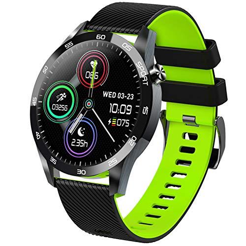 Pulsera Actividad, Impermeable IP68 Inteligente Pulsómetro Monitor De Temperatura Corporal Reloj Inteligente Para Deporte Podómetro Pulsera Deporte Para Android Y Ios,Verde