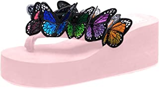 Loosebee◕‿◕ Womens Flip Flops Platform Wedge Sandals Bohemian Butterfly Anti-Slip Summer Thongs Slippersa