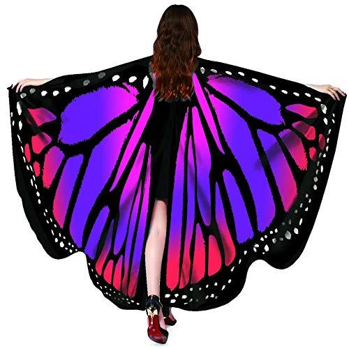 Chal Mariposa Chicas Hermoso Alas Poncho Bufanda Multicolor Tela SuavePlaya Capa Señoras Ninfa Duendecito Accesorio Disfraz Para Fiesta Víspera Todos Santos Cosplay Playa Verano (#9)