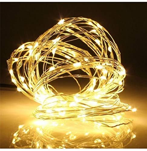LED USB Fairy String Lights, 10M 100 LEDs, IP 65 Waterproof, Warm White Lights for Christmas, Party, Bedroom, Wedding, Indoor/Outdoor Silver Copper Wire