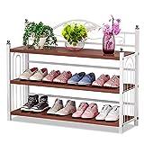 IBEQUEM Zapatero con 3 estantes, color gris plateado y metal, zapatero, organizador de zapatos, para salón, vestidor, 81 x 56 x 24 cm (ancho x alto x profundidad)