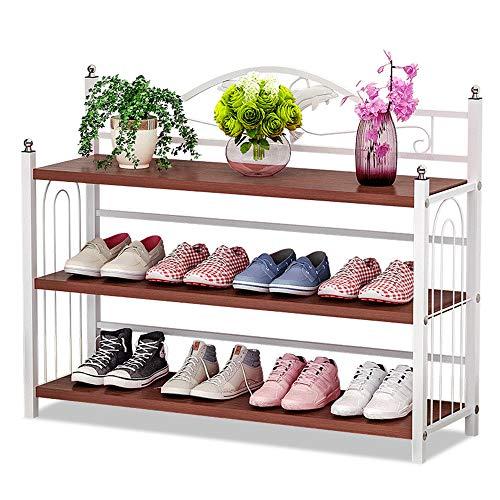 IBEQUEM Schuhregal mit 3 Ablagen, Silber grau Metall Schuhständer Schuhablage, Organizer Schuhaufbewahrung für Wohnzimmer, Ankleidezimmer B81xH56xT24cm (Amerikanische Roteiche)