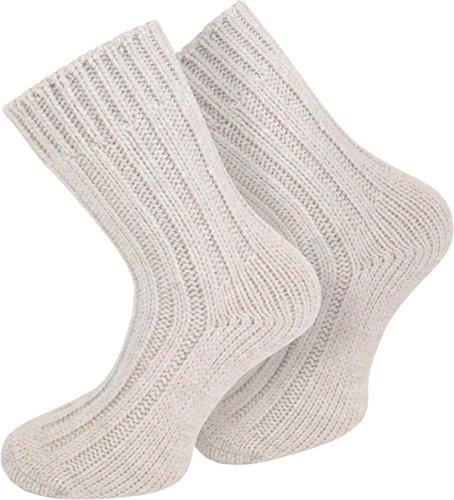 normani 2 Paar warme & weiche Alpaka Socken mit Schafwolle für Damen & Herren [Gr. 35-46] Farbe Wollweiß Größe 43/46